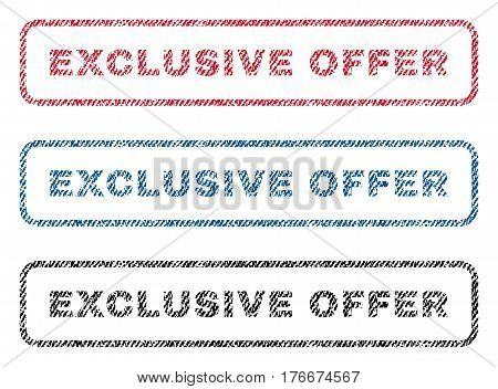 Exclusive Offer text textile seal stamp watermarks. Blue, red, black fabric vectorized texture. Vector caption inside rounded rectangular shape. Rubber emblem with fiber textile structure.