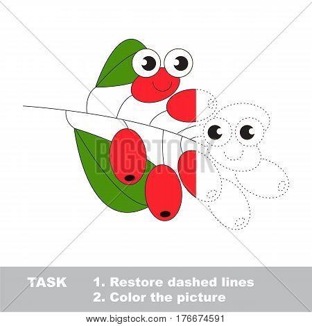 Barberry in vector to be traced. Restore dashed line and color the picture. Visual game for children. Easy educational kid gaming. Simple level of difficulty. Worksheet for kids education.