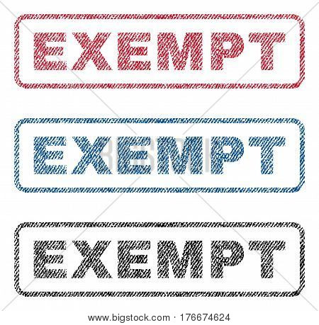 Exempt text textile seal stamp watermarks. Blue, red, black fabric vectorized texture. Vector caption inside rounded rectangular shape. Rubber sticker with fiber textile structure.