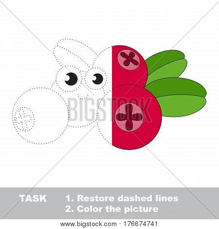 Cow berry in vector to be traced. Restore dashed line and color the picture. Visual game for children. Easy educational kid gaming. Simple level of difficulty. Worksheet for kids education.