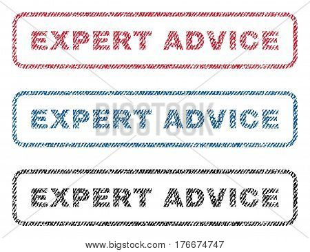 Expert Advice text textile seal stamp watermarks. Blue, red, black fabric vectorized texture. Vector caption inside rounded rectangular banner. Rubber emblem with fiber textile structure.