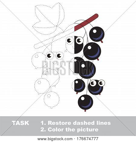 Blackcurrant in vector to be traced. Restore dashed line and color the picture. Visual game for children. Easy educational kid gaming. Simple level of difficulty. Worksheet for kids education.