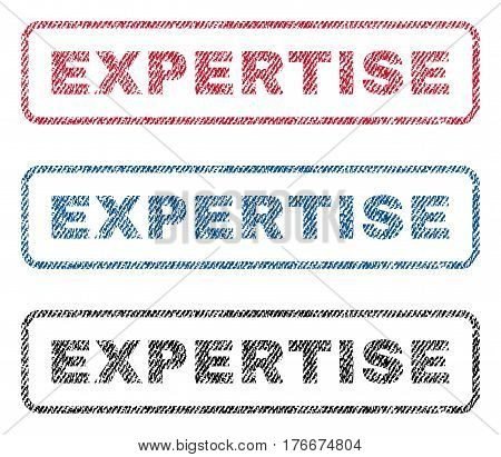Expertise text textile seal stamp watermarks. Blue, red, black fabric vectorized texture. Vector caption inside rounded rectangular shape. Rubber sign with fiber textile structure.