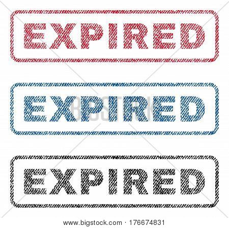 Expired text textile seal stamp watermarks. Blue, red, black fabric vectorized texture. Vector tag inside rounded rectangular banner. Rubber emblem with fiber textile structure.
