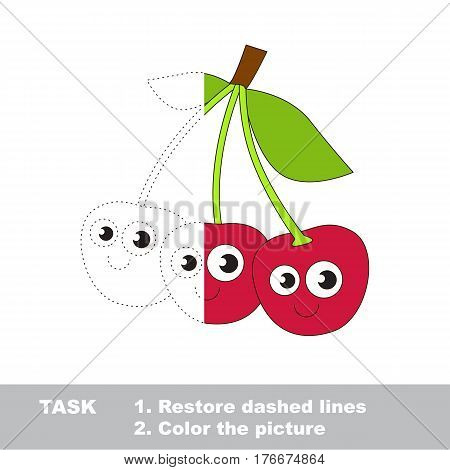 Cherry in vector to be traced. Restore dashed line and color the picture. Visual game for children. Easy educational kid gaming. Simple level of difficulty. Worksheet for kids education.