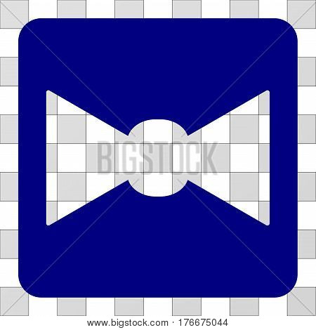 Bow Tie rounded icon. Vector pictogram style is a flat symbol perforation in a rounded square shape, navy blue color.