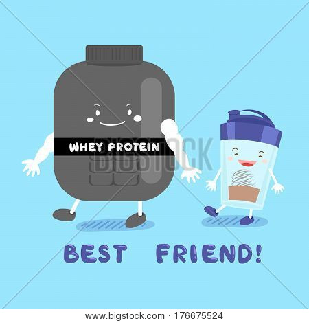 cute cartoon whey protein smile happily on blue background