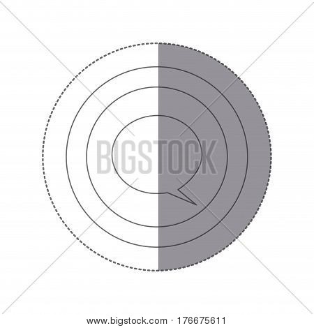 sticker silhouette circular frame with dialogue box vector illustration