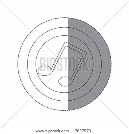 sticker silhouette circular frame with musical note vector illustration