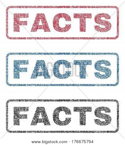 Facts text textile seal stamp watermarks. Blue, red, black fabric vectorized texture. Vector caption inside rounded rectangular shape. Rubber sticker with fiber textile structure.