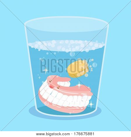 cute cartoon denture with tooth cleaning tablet