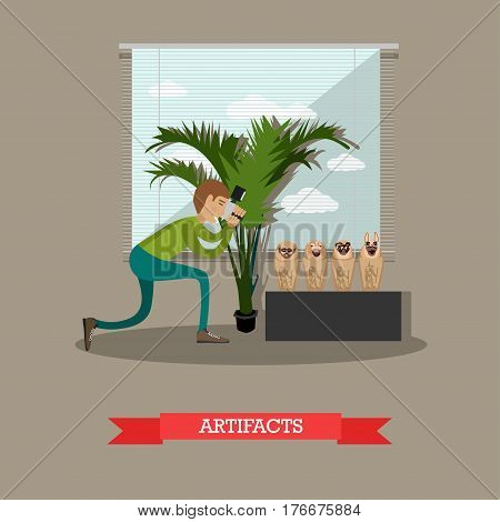 Vector illustration of archaeologist, scientist photographer taking photo of found artifacts of ancient Egypt figurines Ushabti. Artifacts concept design element in flat style.