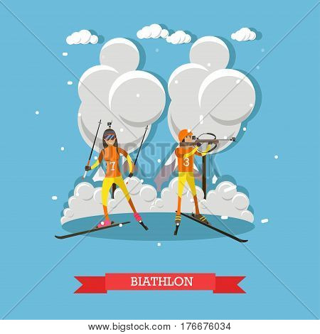 Biathlon concept vector illustration. Winter sports, cross-country skiing with target shooting, skiers male and female flat style design element.