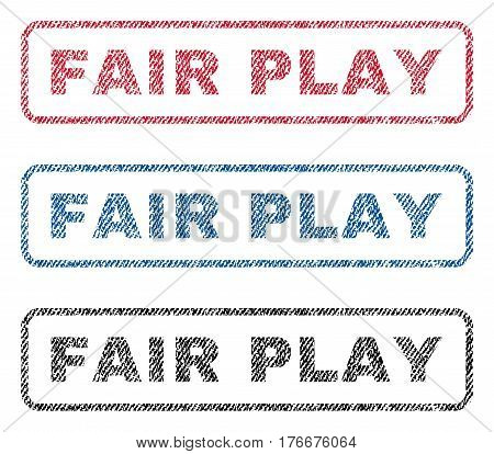 Fair Play text textile seal stamp watermarks. Blue, red, black fabric vectorized texture. Vector tag inside rounded rectangular banner. Rubber emblem with fiber textile structure.