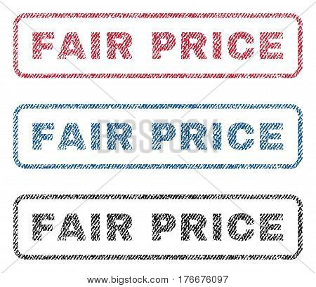 Fair Price text textile seal stamp watermarks. Blue, red, black fabric vectorized texture. Vector caption inside rounded rectangular shape. Rubber sign with fiber textile structure.