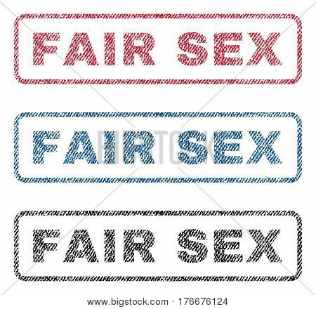 Fair Sex text textile seal stamp watermarks. Blue, red, black fabric vectorized texture. Vector caption inside rounded rectangular shape. Rubber emblem with fiber textile structure.