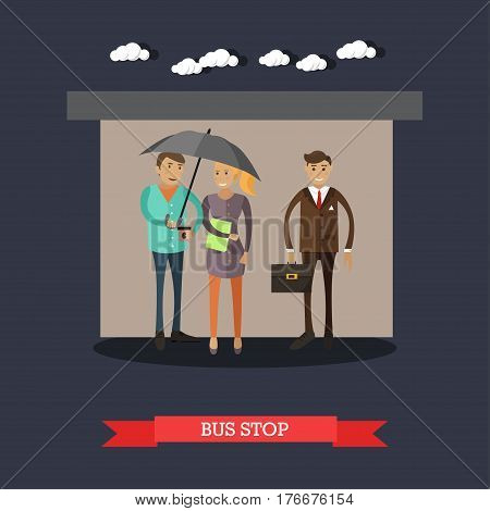 Bus stop concept vector illustration in flat style. People hiding from rainy weather at bus stop, waiting for bus.