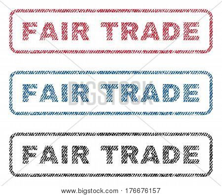 Fair Trade text textile seal stamp watermarks. Blue, red, black fabric vectorized texture. Vector tag inside rounded rectangular shape. Rubber sticker with fiber textile structure.