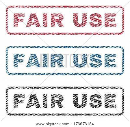 Fair Use text textile seal stamp watermarks. Blue, red, black fabric vectorized texture. Vector tag inside rounded rectangular banner. Rubber sign with fiber textile structure.