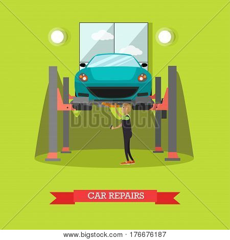 Car repair concept vector illustration. Mechanic young man repairing automobile standing on car lift. Car service, auto repair shop flat style design.