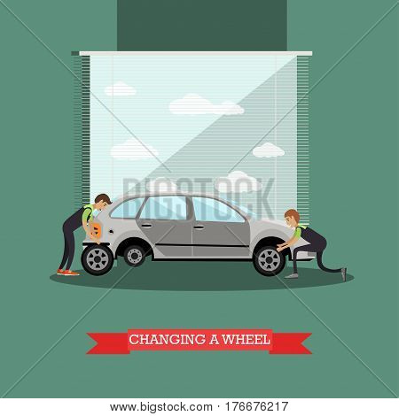 Wheel change, auto service concept vector illustration. Repairmen changing auto wheels, flat style design elements.