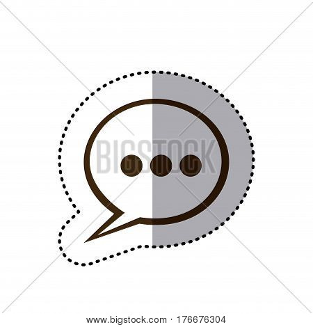 sticker brown silhouette speech bubble with suspending points icon vector illustration