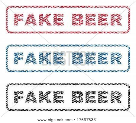 Fake Beer text textile seal stamp watermarks. Blue, red, black fabric vectorized texture. Vector caption inside rounded rectangular shape. Rubber emblem with fiber textile structure.