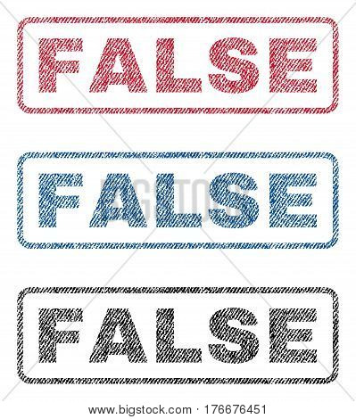 False text textile seal stamp watermarks. Blue, red, black fabric vectorized texture. Vector caption inside rounded rectangular banner. Rubber emblem with fiber textile structure.