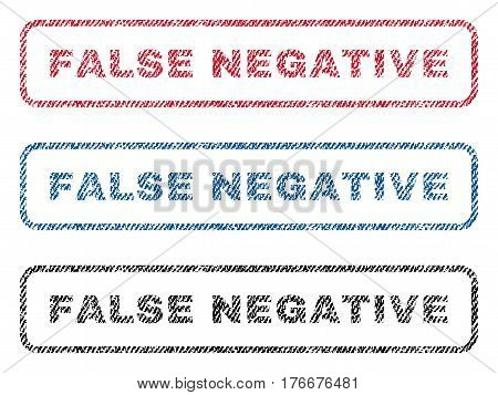 False Negative text textile seal stamp watermarks. Blue, red, black fabric vectorized texture. Vector caption inside rounded rectangular banner. Rubber emblem with fiber textile structure.