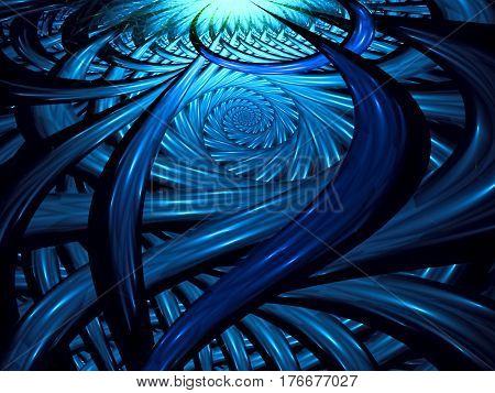 Blue fractal background - spiral and Interweaving curls. Glossy stripes pattern. Abstract computer-generated image for web design, covers, posters.