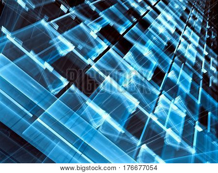 Blurred technology background - abstract computer-generated image. Shiny surface with chaos rectangles and light effects. Sci-fi or tech backdrop for web design, covers, banners.