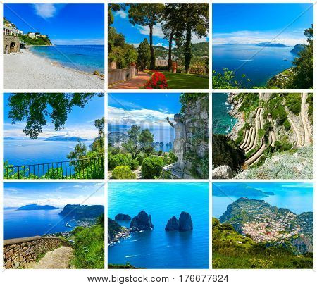 Collage from views of Capri, beautiful and famous island in the Mediterranean Sea Coast, Naples. Italy