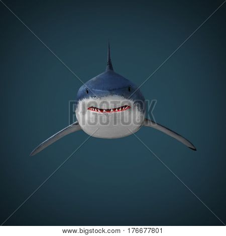 The Great White Shark - Carcharodon carcharias is a world's largest known extant predatory fish.  Illustration from deep sea.