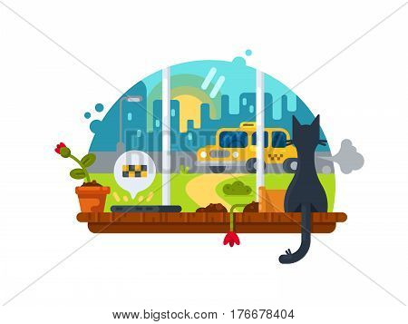Notification of the arrived. Cat sits on windowsill and looks at car. Vector illustration