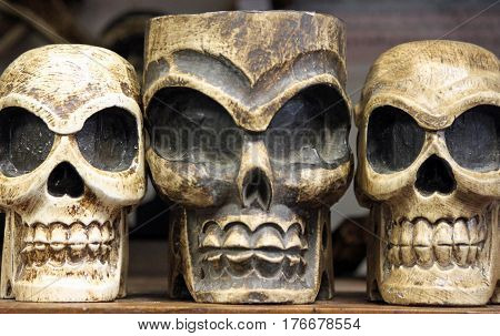 Three Smiling Skulls Looking Spooky and So Fine