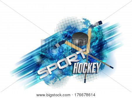 Hockey, crossed hockey sticks and round ribbon. Grungy scratches, text, background on a separate layer and can be easily disabled.