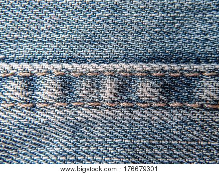 Texture of classic blue jeans close up