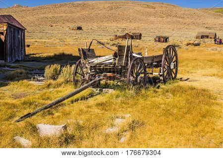 Old Wooden Wagon Abandoned In California Ghost Town