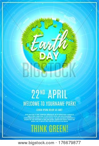 Blue poster for celebrating Earth Day. Vector illustration with planet Earth with ground from grass and clouds around the planet.