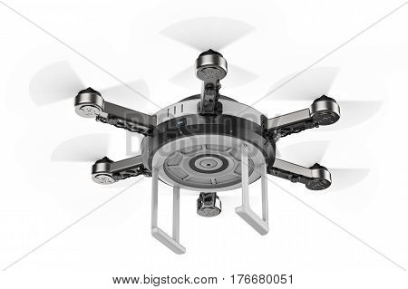 Flying Drone Isolated On White