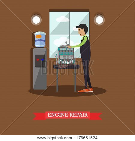 Engine repair concept vector illustration. Mechanic young man repairing automobile engine, motor. Auto repair shop services flat style design.
