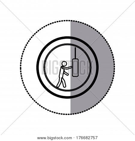 sticker of monochrome pictogram with man knocking punching bag in circular frame vector illustration