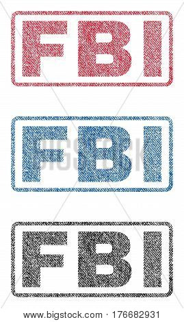 FBI text textile seal stamp watermarks. Blue, red, black fabric vectorized texture. Vector caption inside rounded rectangular shape. Rubber sign with fiber textile structure.