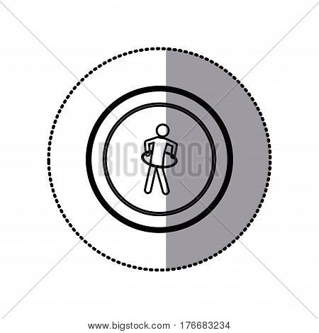 sticker of monochrome pictogram with training in hula hoop in circular frame vector illustration