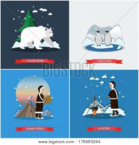 Vector set of wild north posters, banners. Polar bear, Penguins, Tambourine and Bonfire design elements in flat style.