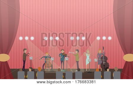 Vector illustration of symphony orchestra playing music on stage of concert hall. Conductor, violinist, bassist, trumpeter, flutist and audience flat style design elements.