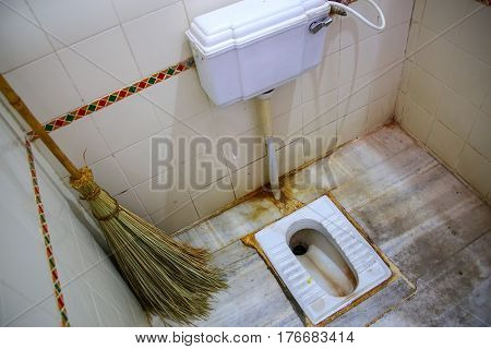 Squat Toilet In A Public Restroom In Amber Fort, Rajasthan, India