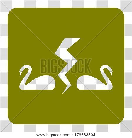 Divorce Swans interface icon. Vector pictograph style is a flat symbol hole inside a rounded square shape, olive color.