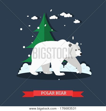 Vector illustration of white polar bear. Flat style design element.