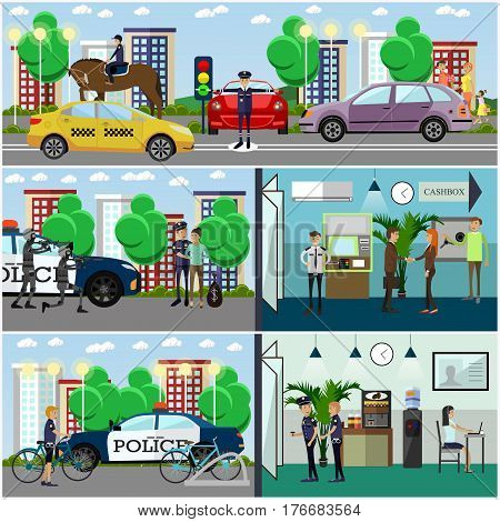 Vector set of police concept posters. Police station, policemen in office and outside, mounted police, transport flat style design elements.